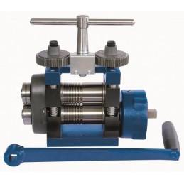 Laminoir à main 100 mm structure en acier spacial plaque et fil + réducteur/roulette