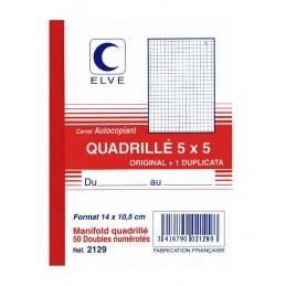 CARNET QUADRILLE AUTOCOPIANT 5x5 - A6 - 50 DUPLI - x10