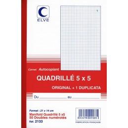 CARNET QUADRILLE AUTOCOPIANT 5x5 - A5 - 50 DUPLI - x10