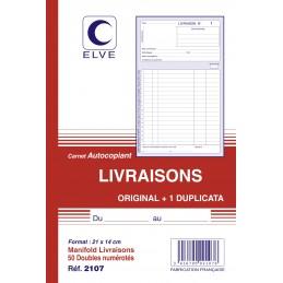 CARNET LIVRAISONS AUTOCOPIANT - A5 - 50 dupli