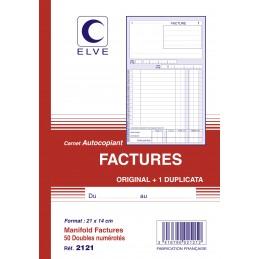 CARNET FACTURES AUTOCOPIANT - A5 - 50 dupli - x10