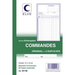 CARNET COMMANDES AUTOCOPIANT - A5 - 50 tripli - x10