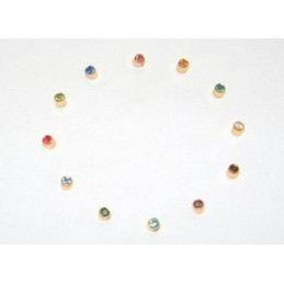 BOUTONS D'OREILLE DORES PIERRES ASSORTIES GM 12P